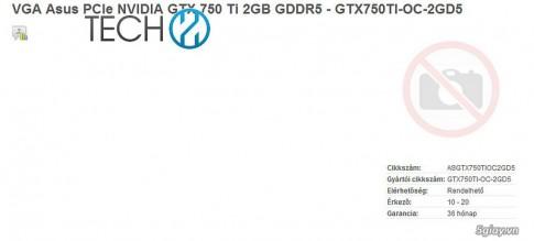"ASUS GeForce GTX 750 Ti ""Maxwell"" duoc ASUS len danh sach ban hang"