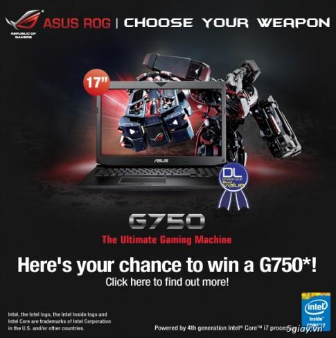 Ban la game thu ? Hay tham gia chuong trinh tang qua gaming laptop ROG G750 cua ASUS !