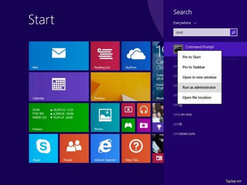 Cach mo Command Prompt voi quyen quan tri Administrator trong Windows 8.1