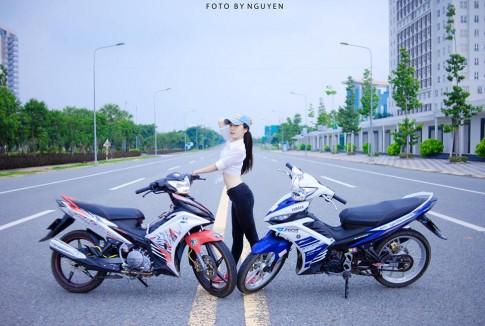 Cap doi Yamaha Exciter 135 so dang cung biker Nu Binh Duong