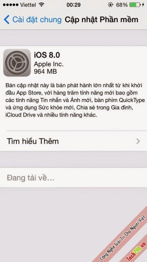 Chính thức tải về IOS 8.0 Cho các thiết bị của Apple !