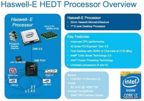 """Chip cao cap Core i7 """"Haswell-E"""" cua Intel se ra mat nam sau"""