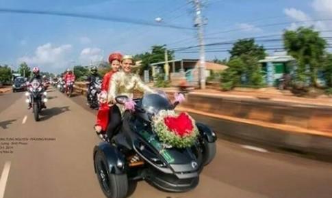 Chú rể cưỡi siêu 3 bánh Can-Am Spyder đi rước dâu tại Bình Phước