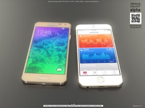 Chum anh so sanh sieu pham iPhone 6 vs. Samsung Alpha