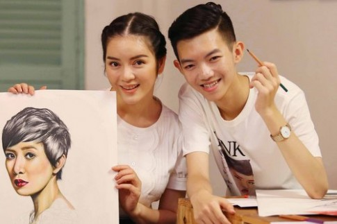 Ly Nha Ky moi hoa si 15 tuoi ve tranh cho show thoi trang