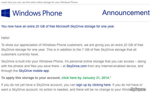 Microsoft tặng người dùng Windows Phone thêm 20 GB lưu trữ SkyDrive