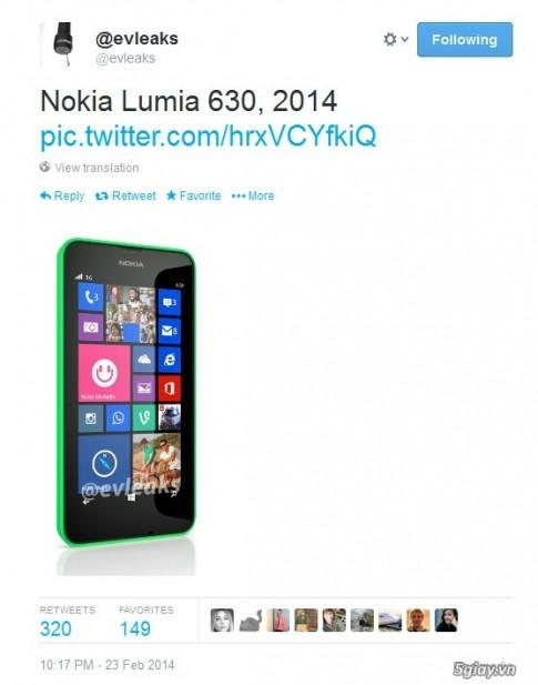 Nokia se gioi thieu Lumia 630 trong MWC 2014 ?