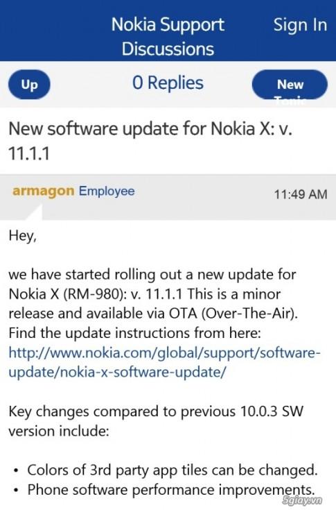 Nokia X nhan ban cap nhat dau tien