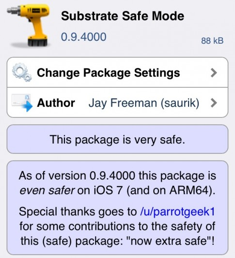 Substrate Safe Mode 0.9.4000 da tuong thich iOS 7 va iPhone 5s