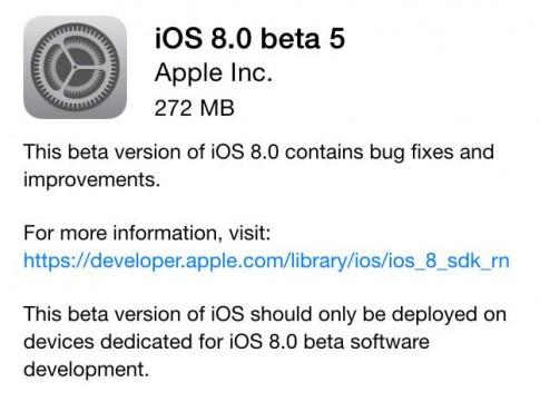 Tai va cai dat iOS 8 beta 5 cho iPhone, iPad va iPod