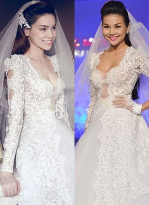 Thanh Hằng mặc váy cưới giống Hà Hồ