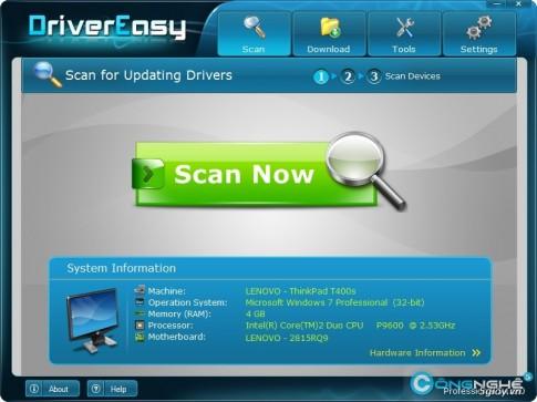 Tu tim driver Laptop bang 1 cu click chuot voi Driver Easy