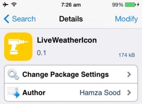 Tweak moi LiveWeatherIcon: icon app Weather thay doi theo thoi tiet tren iOS 7