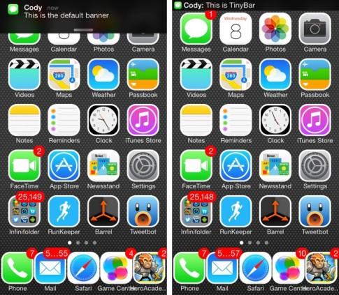 Tweak Tiny Bar: Thu nho kich co Banner Notification tren iOS 7