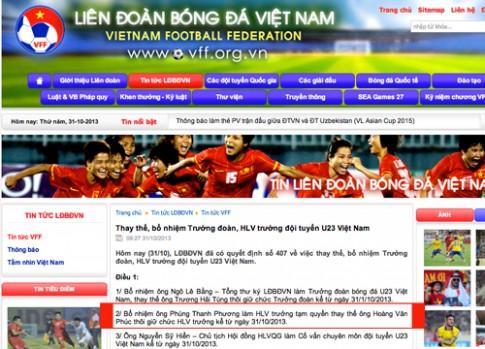 HLV U23 Viet Nam bi thoi chuc duoc giu lai lam co van