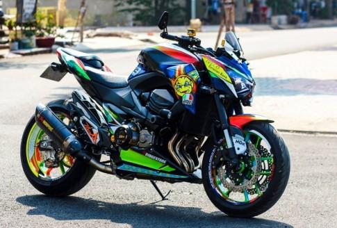 Kawasaki Z800 cực kì nổi bật với phong cách Valentino Rossi