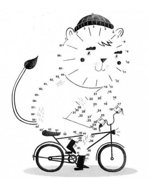 Tranh nối 'Mèo đi xe đạp'