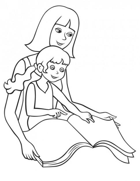Tranh tô màu 'Mẹ đọc sách cùng con'