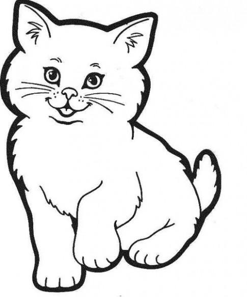 Tranh tô màu 'Mèo con dễ thương'