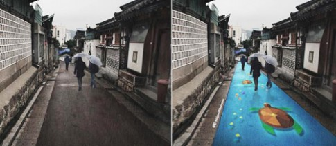 Duong pho Seoul se 'bien hinh' ruc ro khi troi mua