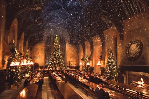 Fan Harry Potter don tiec Giang sinh o truong Hogwarts