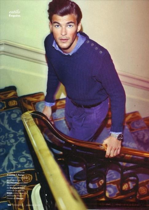 Phối đồ gam màu xanh đa phong cách trên Esquire España