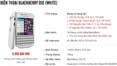 Blackberry Q10 chinh hang giam gia con 7 trieu dong