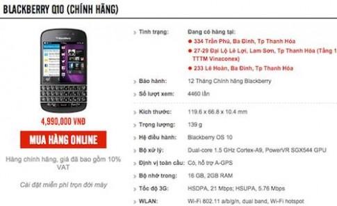 BlackBerry Q10 chinh hang giam them 2 trieu dong