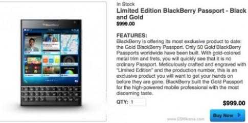 BlackBerry ra them Passport ban Gold dac biet, gia 1.000 USD