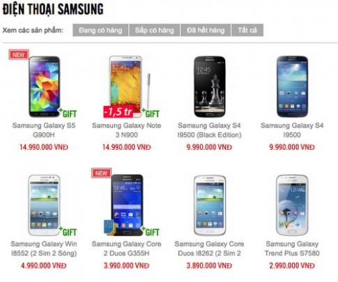 Galaxy S5 va Note 3 chinh hang giam gia hon mot trieu dong
