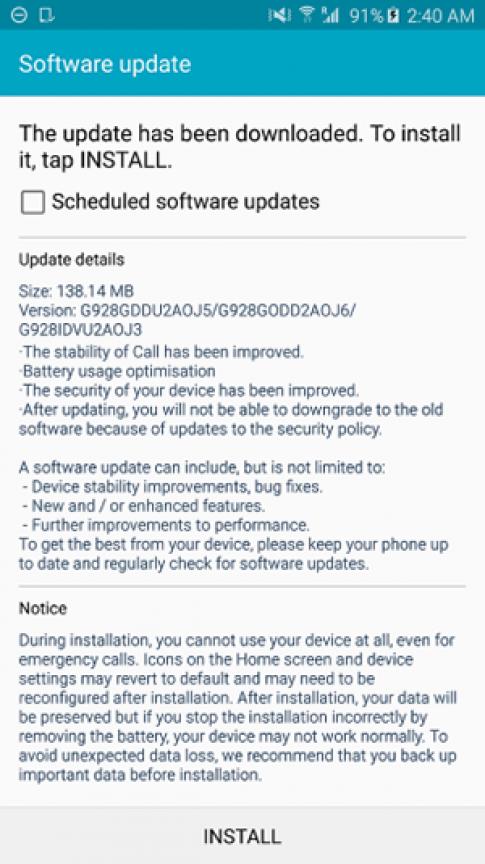 Galaxy S6 edge co ban cap nhat phan mem dau tien