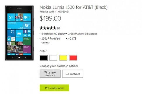 Gia Nokia Lumia 1520 o My re hon Viet Nam 200 USD