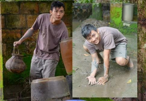 Hoài Lâm lấm lem bùn đất trên phim trường 'Giọt lệ bên sông'
