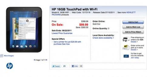 HP thanh lý TouchPad, bán hết trong vài giờ