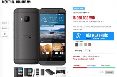 HTC One M9 chinh hang duoc rao gia gan 17 trieu dong