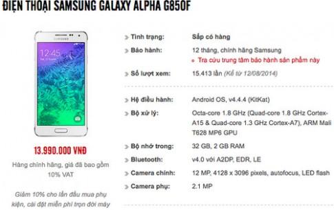 Samsung Galaxy Alpha chinh hang co gia 13,99 trieu dong