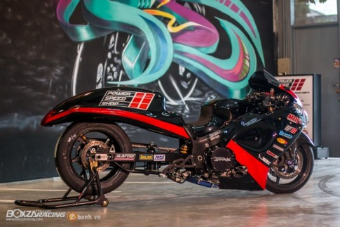 Than gio Hayabusa sieu khung trong ban do Turbo DragBike