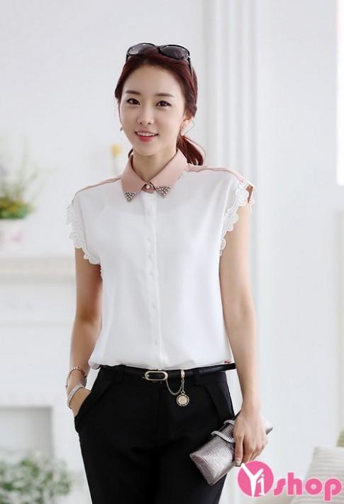 Áo sơ mi nữ vải voan trắng Hàn Quốc đẹp hè 2016 cho nàng công sở