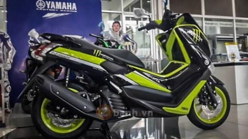 Lo anh Yamaha NMax 155 2016 voi phien ban Monster va Movistar