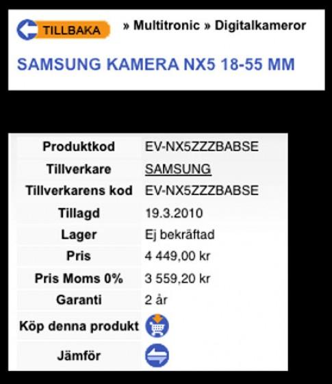 Samsung lo ban NX5
