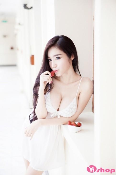 Váy đầm ngủ trắng đẹp hè 2016 quyến rũ phong cách sexy gợi cảm
