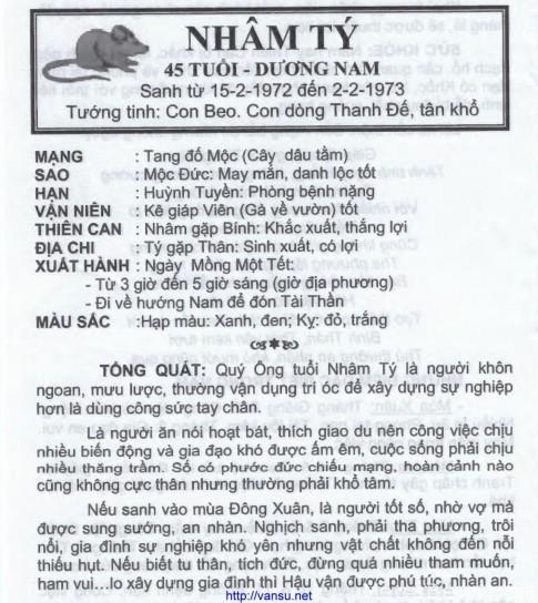 Tu vi nam 2016 tuoi Nham Ty 1972 nam mang nu mang