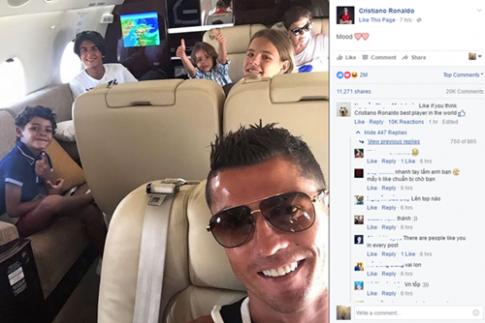 """Dân mạng Việt lại """"đại náo"""" trang cá nhân của Ronaldo"""