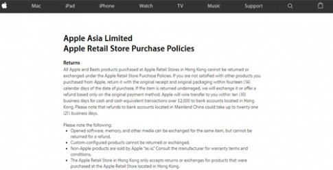 Apple bat ngo khong cho doi tra iPhone o Hong Kong