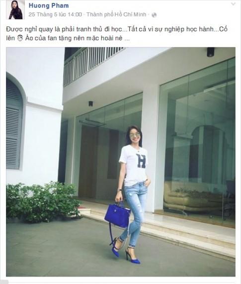 Fan choáng váng vì Phạm Hương đi học vẫn xách túi 75 triệu