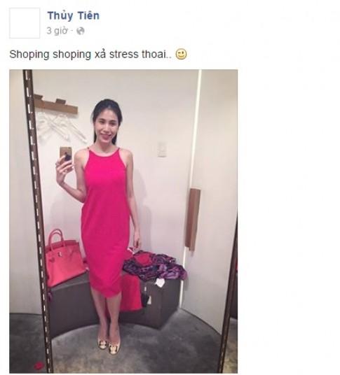 Thủy Tiên xách túi trăm triệu đi mua sắm để xả stress