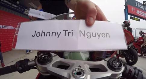 [Clip] Johnny Tri Nguyen chay thu Ducati 959 Panigale tren duong dua Thailand