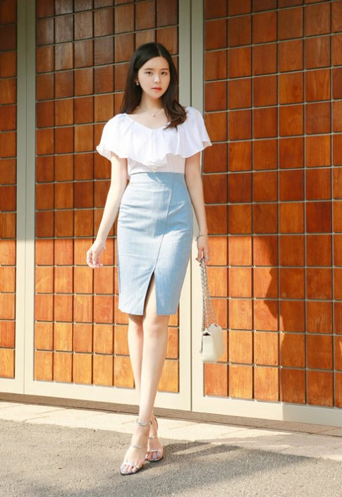 Chân váy denim Hàn Quốc đẹp xuân hè 2017 trẻ trung cho nàng công sở