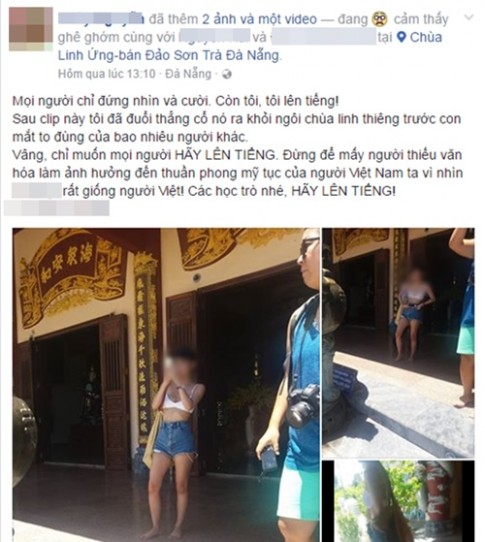 Mac do ngan ho qua muc, co gai nuoc ngoai bi moi ra khoi chua Linh Ung