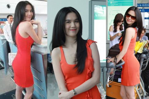 Ngoc Trinh, Thanh Hang hoan hao o san bay